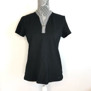 Tommy Hilfiger Blouse Black Contrast Trim Medium